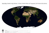 #28 Map World: Surface, Shallow Water and Topography (with National Boundaries)