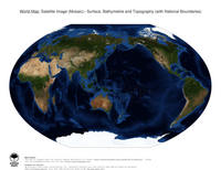 #14 Map World: Surface, Bathymetrie and Topography (with National Boundaries)