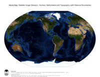 #15 Map World: Surface, Bathymetrie and Topography (with National Boundaries)