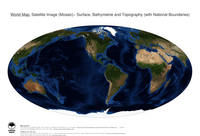 #18 Map World: Surface, Bathymetrie and Topography (with National Boundaries)