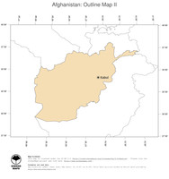 #2 Map Afghanistan: political country borders and capital (outline map)