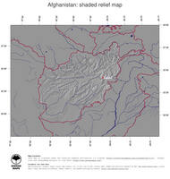 #4 Map Afghanistan: shaded relief, country borders and capital