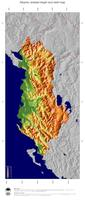 #5 Map Albania: color-coded topography, shaded relief, country borders and capital