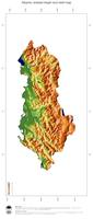 #3 Map Albania: color-coded topography, shaded relief, country borders and capital