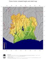 #5 Map Cote d Ivoire: color-coded topography, shaded relief, country borders and capital