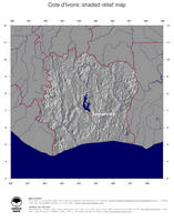 #4 Map Cote d Ivoire: shaded relief, country borders and capital