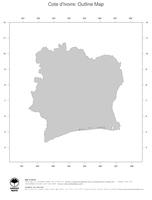 #1 Map Cote d Ivoire: political country borders (outline map)