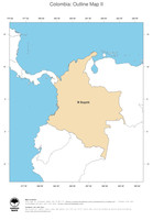 #2 Map Colombia: political country borders and capital (outline map)
