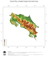 #3 Map Costa Rica: color-coded topography, shaded relief, country borders and capital