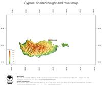 #3 Map Cyprus: color-coded topography, shaded relief, country borders and capital