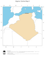 #2 Map Algeria: political country borders and capital (outline map)