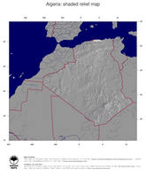 #4 Map Algeria: shaded relief, country borders and capital