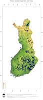 #3 Map Finland: color-coded topography, shaded relief, country borders and capital