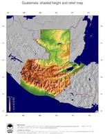#5 Map Guatemala: color-coded topography, shaded relief, country borders and capital