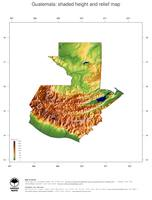 #3 Map Guatemala: color-coded topography, shaded relief, country borders and capital