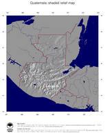 #4 Map Guatemala: shaded relief, country borders and capital