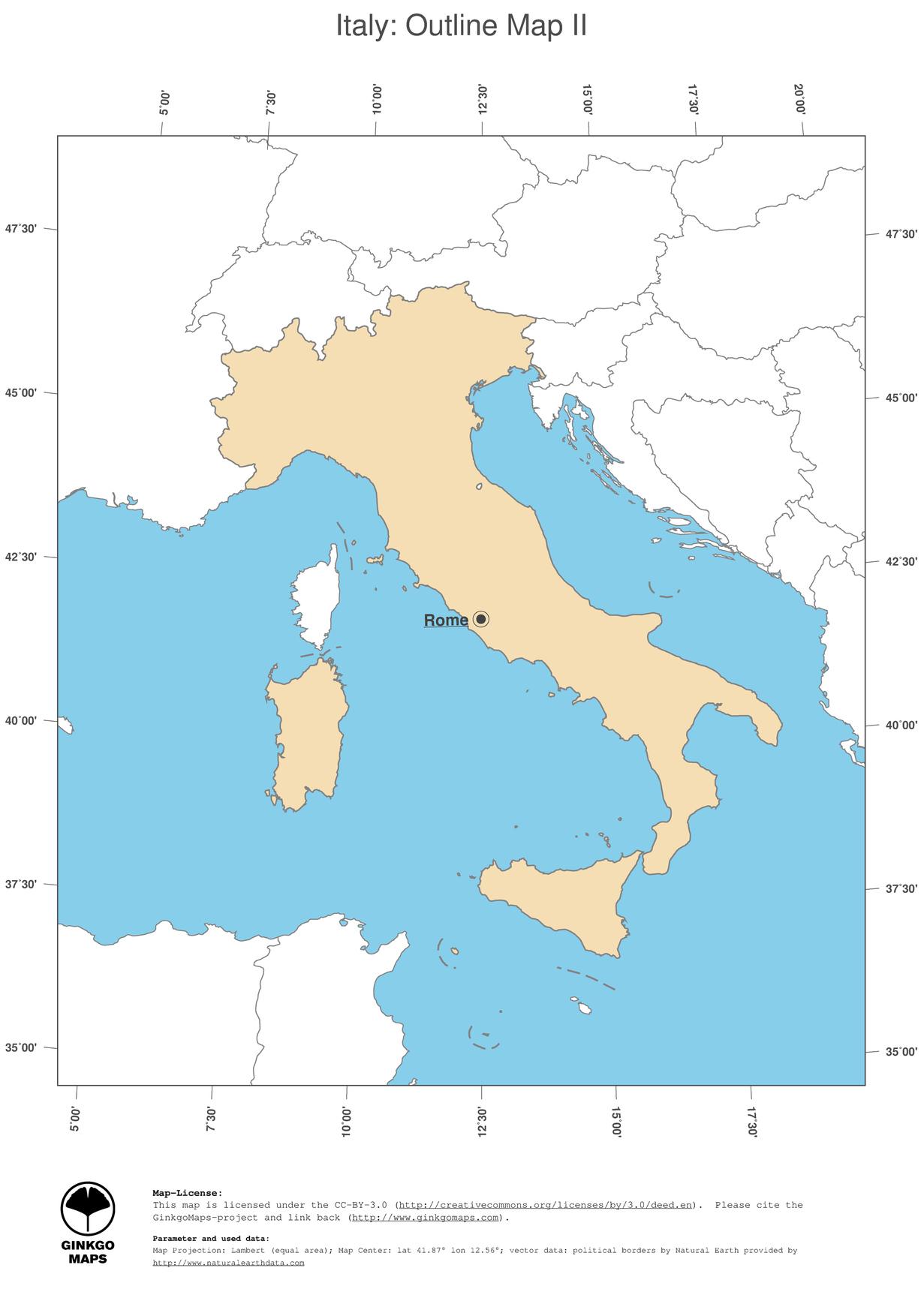 Blank italy map regions