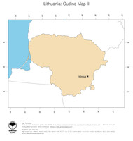 #2 Map Lithuania: political country borders and capital (outline map)