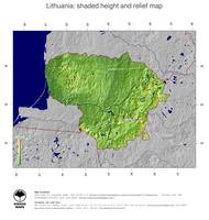 #5 Map Lithuania: color-coded topography, shaded relief, country borders and capital