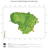 #3 Map Lithuania: color-coded topography, shaded relief, country borders and capital