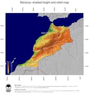#5 Map Morocco: color-coded topography, shaded relief, country borders and capital