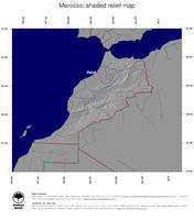 #4 Map Morocco: shaded relief, country borders and capital