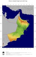 #5 Map Oman: color-coded topography, shaded relief, country borders and capital