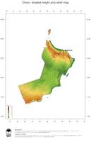 #3 Map Oman: color-coded topography, shaded relief, country borders and capital