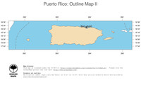 #2 Map Puerto Rico: political country borders and capital (outline map)