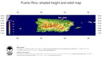 #5 Map Puerto Rico: color-coded topography, shaded relief, country borders and capital