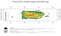 #3 Map Puerto Rico: color-coded topography, shaded relief, country borders and capital