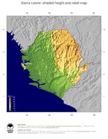 #5 Map Sierra Leone: color-coded topography, shaded relief, country borders and capital