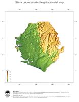#3 Map Sierra Leone: color-coded topography, shaded relief, country borders and capital