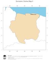 #2 Map Suriname: political country borders and capital (outline map)