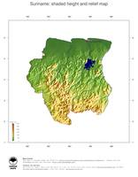 #3 Map Suriname: color-coded topography, shaded relief, country borders and capital