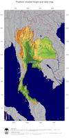 #5 Map Thailand: color-coded topography, shaded relief, country borders and capital