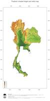#3 Map Thailand: color-coded topography, shaded relief, country borders and capital
