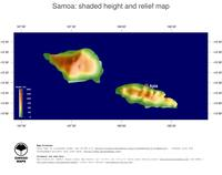 #4 Map Samoa: color-coded topography, shaded relief, country borders and capital