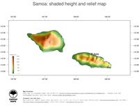 #3 Map Samoa: color-coded topography, shaded relief, country borders and capital