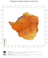 #3 Map Zimbabwe: color-coded topography, shaded relief, country borders and capital