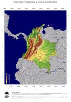 #4 Mapa Colombia: Topografía codificada en colores, accidentes geográficos sombreados, fronteras y capital