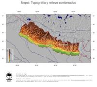 #4 Mapa Nepal: Topografía codificada en colores, accidentes geográficos sombreados, fronteras y capital