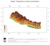 #3 Mapa Nepal: Topografía codificada en colores, accidentes geográficos sombreados, fronteras y capital