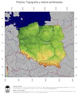 #4 Mapa Polonia: Topografía codificada en colores, accidentes geográficos sombreados, fronteras y capital