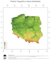 #3 Mapa Polonia: Topografía codificada en colores, accidentes geográficos sombreados, fronteras y capital