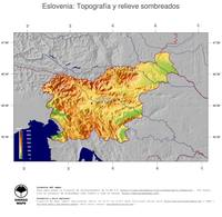 #4 Mapa Eslovenia: Topografía codificada en colores, accidentes geográficos sombreados, fronteras y capital