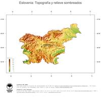 #3 Mapa Eslovenia: Topografía codificada en colores, accidentes geográficos sombreados, fronteras y capital